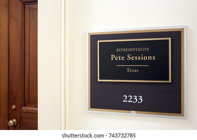 WASHINGTON - JULY 18: The entrance to the office of Representative Pete Sessions in Washington DC on July 18, 2017. Pete Sessions is a congressman from the state of Texas.