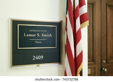 WASHINGTON - JULY 18: The entrance to the office of Representative Lamar Smith in Washington DC on July 18, 2017. Lamar Smith is a congressman from the state of Texas.