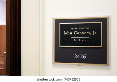 WASHINGTON - JULY 18: The entrance to the office of Representative John Conyers in Washington DC on July 18, 2017. John Conyers is a congressman from the state of Michigan.