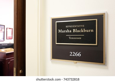 WASHINGTON - JULY 18: The entrance to the office of Representative Marsha Blackburn in Washington DC on July 18, 2017. Marsha Blackburn is a congresswoman from the state of Tennessee.
