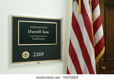 WASHINGTON - JULY 18: The entrance to the office of Representative Darrell Issa in Washington DC on July 18, 2017. Darrell Issa is a congressman from the state of California.