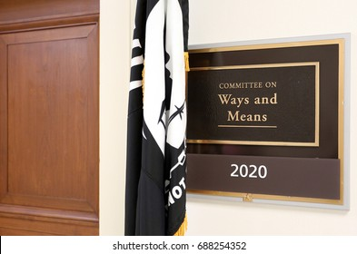 WASHINGTON - JULY 18: A sign at the entrance to a House Ways and Means Committee hearing room in Washington, DC on July 18, 2017. The House of Representatives is the lower chamber of the US Congress.