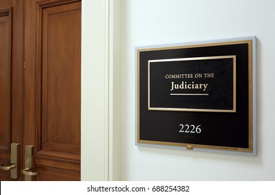WASHINGTON - JULY 18: A sign at the entrance to a House Judiciary Committee hearing room in Washington, DC on July 18, 2017. The House of Representatives is the lower chamber of the US Congress.