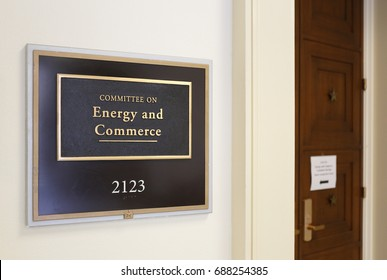 WASHINGTON - JULY 18: A sign at the entrance to a House Energy and Commerce Committee room in Washington, DC on July 18, 2017. The House of Representatives is the lower chamber of the US Congress.