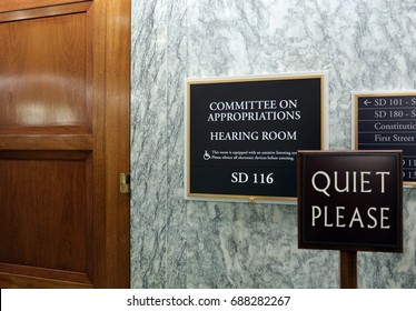 WASHINGTON - JULY 18: A sign at the entrance to a Senate Appropriations Committee hearing room in Washington, DC on July 18, 2017. The US Senate is the upper chamber of the United States Congress.