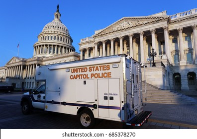 WASHINGTON - JULY 18: A United States Capitol Police truck parked in front of the US Capitol in Washington, DC on July 18, 2017. The US Capitol Police is charged with protecting the US Congress.