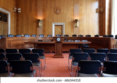 WASHINGTON - JULY 18: A United States Senate committee hearing room in Washington, DC on July 18, 2017. The United States Senate is the upper chamber of the United States Congress.