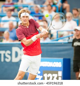 WASHINGTON JULY 23: Alexander Zverev (GER) falls to Gael Monfils (FRA, not pictured) in the semifinal round of the Citi Open Tennis Tournament on July 23, 2016 in Washington DC