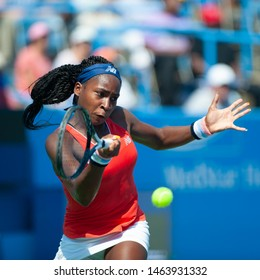 WASHINGTON – JULY 27: Coco Gauff (USA) defeats fellow American Maegan Manasse (not pictured) in the qualifying rounds of the Citi Open tennis tournament on July 27, 2019 in Washington DC