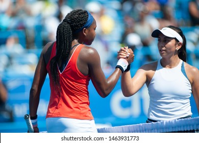 WASHINGTON – JULY 27: Coco Gauff (USA) and fellow American Maegan Manasse shake hands after Gauff's win in the qualifying rounds of the Citi Open tennis tournament on July 27, 2019 in Washington DC