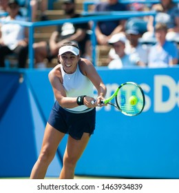 """WASHINGTON – JULY 27: Maegan Manasse (USA) falls to Cori """"Coco"""" Gauff (USA, not pictured) in the qualifying rounds of the Citi Open tennis tournament on July 27, 2019 in Washington DC"""