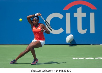 "WASHINGTON – JULY 28: Cori ""Coco"" Gauff (USA) defeats Hiroko Kuwata (JPN, not pictured) in the qualifying rounds of the Citi Open tennis tournament on July 27, 2019 in Washington DC"