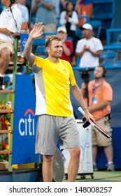 WASHINGTON -Â?Â? JULY 29:  Mardy Fish (USA) celebrates his victory over Matthew Ebden (AUS, not pictured) at the Citi Open tennis tournament on July 29, 2013 in Washington