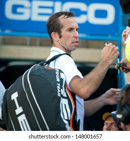 WASHINGTON -Â?Â? JULY 29:  Radek Stepanek (CZE) signs autographs after defeating Steve Johnson (USA, not pictured) during early play at the Citi Open tennis tournament on July 29, 2013 in Washington.