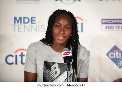 """WASHINGTON – JULY 30: Cori """"Coco"""" Gauff (USA) speaks to reporters after losing her match at the Citi Open tennis tournament on July 30, 2019 in Washington DC"""