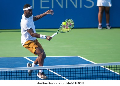WASHINGTON – JULY 30: Frances Tiafoe (USA) defeats Alexander Bublik (RUS, not pictured) at the Citi Open tennis tournament on July 30, 2019 in Washington DC