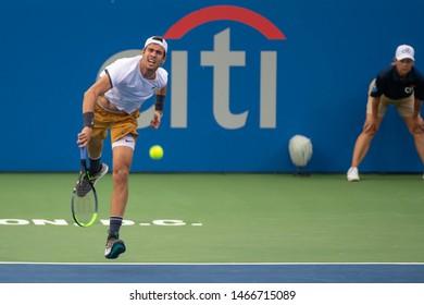 WASHINGTON – JULY 30: Karen Khachanov (RUS) falls to Jo-Wilfried Tsonga (FRA, not pictured) at the Citi Open tennis tournament on July 30, 2019 in Washington DC