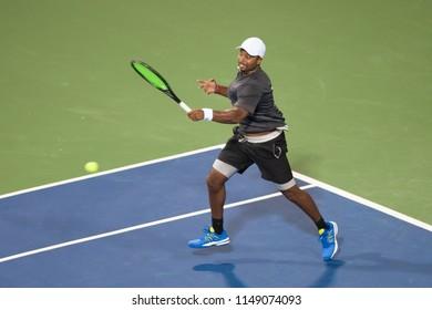 WASHINGTON – JULY 31, 2018: Donald Young (USA) defeats Stan Wawrinka (SUI) at the Citi Open tennis tournament on July 31, 2018 in Washington DC