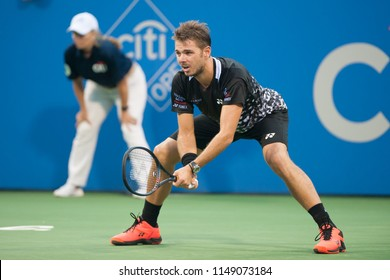 WASHINGTON – JULY 31, 2018: Stan Wawrinka (SUI) falls to Donald Young (USA) at the Citi Open tennis tournament on July 31, 2018 in Washington DC