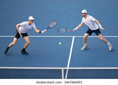 WASHINGTON – JULY 31: Andy Murray and Jamie Murray (GBR) defeat Nicolas Mahut and Edouard Roger-Vasselin (FRA, not pictured) at the Citi Open tennis tournament on July 31, 2019 in Washington DC