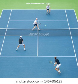 WASHINGTON – JULY 31: Andy Murray and Jamie Murray (GBR) defeat Nicolas Mahut and Edouard Roger-Vasselin (FRA) at the Citi Open tennis tournament on July 31, 2019 in Washington DC