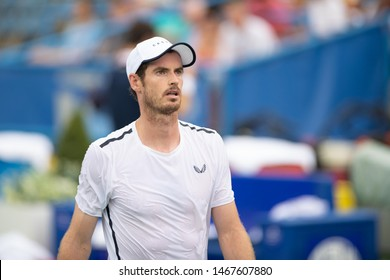 WASHINGTON – JULY 31: Andy Murray during doubles play with brothr Jamie Murray (GBR)  at the Citi Open tennis tournament on July 31, 2019 in Washington DC