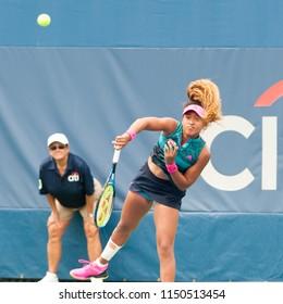 WASHINGTON – JULY 31: Naomi Osaka (JPN) defeats Bernarda Pera (USA) at the Citi Open tennis tournament on July 31, 2018 in Washington DC