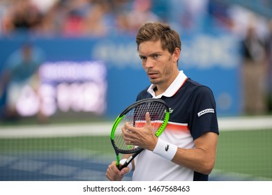 WASHINGTON – JULY 31: Nicolas Mahut during doubles play with partner Edouard Roger-Vasselin (FRA, not pictured) at the Citi Open tennis tournament on July 31, 2019 in Washington DC