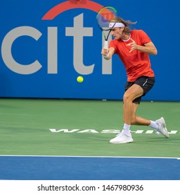 WASHINGTON – JULY 31: Stefanos Tsitsipas (GRE) defeated Tommy Paul (USA, not pictured) at the Citi Open tennis tournament on July 31, 2019 in Washington DC
