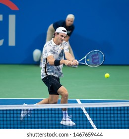 WASHINGTON – JULY 31: Tommy Paul (USA) falls to Stefanos Tsitsipas (GRE, not pictured) at the Citi Open tennis tournament on July 31, 2019 in Washington DC