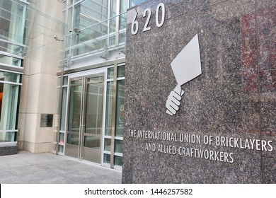 WASHINGTON - JULY 6, 2019: THE INTERNATIONAL UNION OF BRICKLAYERS AND ALLIED CRAFTWORKERS sign and logo at headquarters building entrance. The BAC is an affiliate of the AFL-CIO