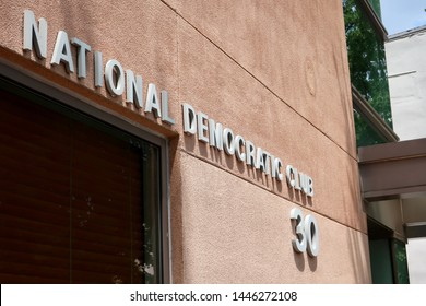 WASHINGTON - JULY 6, 2019: National Democratic Club sign on building exterior.  The club is a Democratic membership organization on Capitol Hill