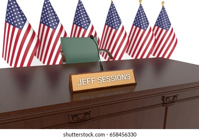 WASHINGTON - June 12th: Wooden table with desk plaque JEFF SESSIONS and American flags. Sessions to appear before Senate intelligence committee to respond to  James Comey's testimony. 3D Illustration