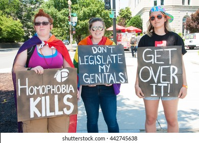 WASHINGTON JUNE 25:  Proponents of same-sex marriage counter protest in front of the U.S. Supreme Court at the March for Marriage in Washington, DC on June 25, 2016.