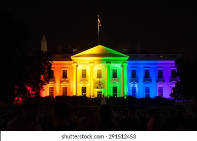 WASHINGTON JUNE 26 - The White House is lit up in rainbow colors to celebrate the Supreme Court's opinion legalizing gay marriage in all fifty states on June 26, 2015