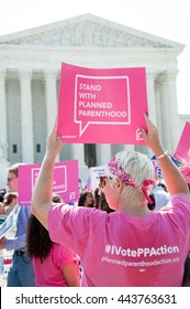 WASHINGTON JUNE 27:  A Planned Parenthood supporter awaits the Supreme Courtâ??s ruling on abortion access in front of the Supreme Court in Washington, DC on June 27, 2016