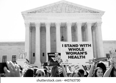WASHINGTON JUNE 27:  Pro-choice activists await the Supreme Courtâ??s ruling on abortion access in front of the Supreme Court in Washington, DC on June 27, 2016