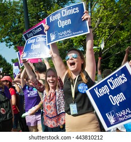 WASHINGTON JUNE 27:  Pro-choice activists celebrate the Supreme Courtâ??s ruling on abortion access in front of the Supreme Court in Washington, DC on June 27, 2016