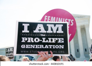 WASHINGTON JUNE 27:  A pro-life demonstrator awaits the Supreme Courtâ??s ruling on abortion access in front of the Supreme Court in Washington, DC on June 27, 2016