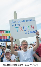 WASHINGTON – JUNE 3: A protester at the March for Truth, which calls for an investigation into Russian interference with the U.S. presidential election in Washington, DC on June 3, 2017