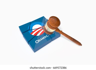 WASHINGTON - JUNE 30, 2017: Collapsed plate with Obama Care symbol and a text label and a judge's hammer (Gavel). Trump to push Obamacare repeal bill. 3D Illustration.