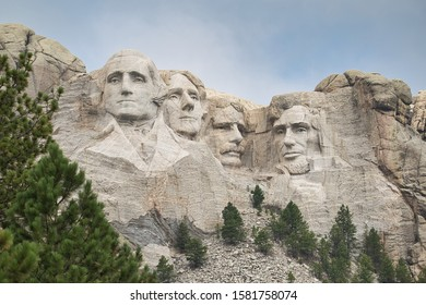Washington, Lincoln, Roosevelt and Jefferson struck in stone
