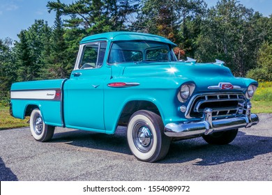 Washington, Maine, USA - August 15, 2017 : 1957 Chevrolet 3124 Cameo pickup.