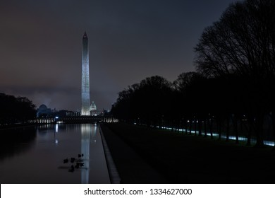 The Washington Mall at night