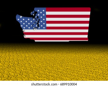 Washington map flag with dollar coins foreground 3d illustration