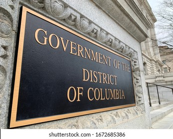 WASHINGTON - MARCH 14, 2020: GOVERNMENT OF THE DISTRICT OF COLUMBIA headquarters sign at entrance to building
