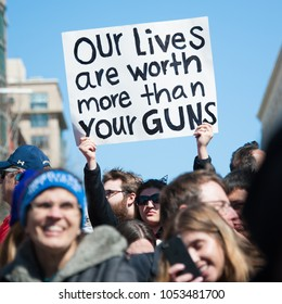 WASHINGTON MARCH 24:  A participant in the March for Our Lives, a protest by students for gun control, holds a sign on March 24, 2018 in Washington DC