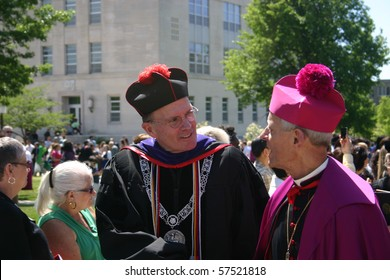 WASHINGTON - MAY 15: Donald Wuerl (r), Archbishop of Washington, and David O'Connell (l), then president of CUA, lead procession after Catholic University of America's commencement on May 15, 2010 in Washington DC