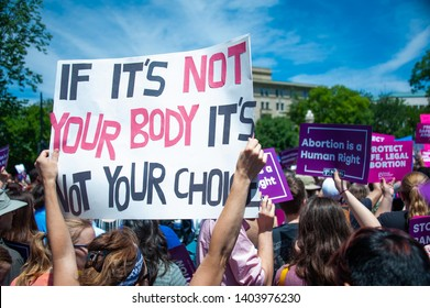 WASHINGTON MAY 21:  Pro-choice activists rally to stop states' abortion bans in front of the Supreme Court in Washington, DC on May 21, 2019