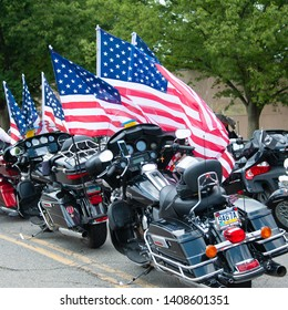 WASHINGTON MAY 26: Riders take part in Rolling Thunder, a motorcycle rally to bring attention to POWs and MIAs of US-involved wars, on May 26, 2019 in Washington, DC